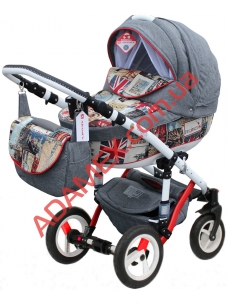 Коляска 2в1 Adamex Galactic World Collection British Design Red Grey