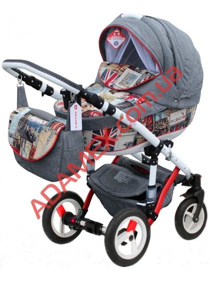 Коляска 2в1 Adamex Galactic World Collection British Design Red Grey
