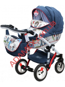 Коляска 2в1 Adamex Galactic World Collection Girls Red Blue