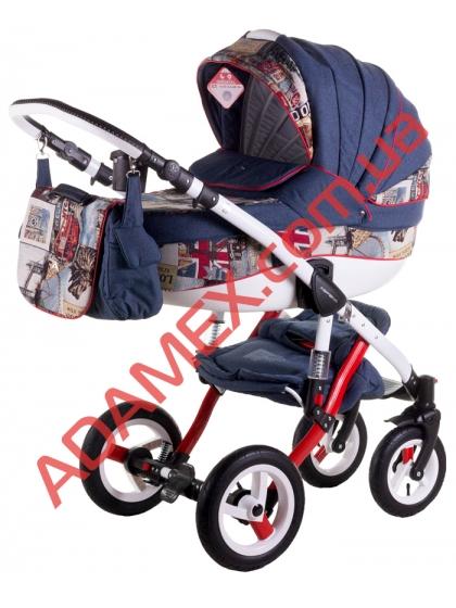 Коляска 2в1 Adamex Aspena World Collection British Design Red Blue