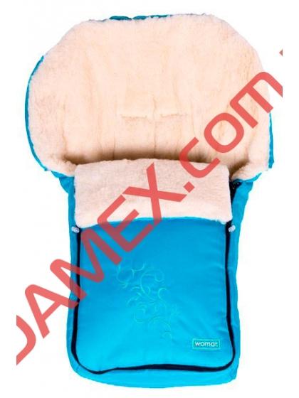 Конверт на овчине Womar №25 с вышивкой Turquoise